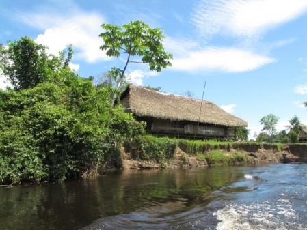 una casa tipica de la amazonia... da el paisaje perfecto de la naturaleza y costumbre lugareñas.